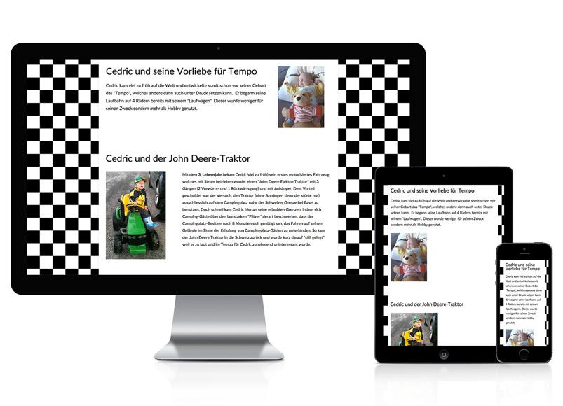 Webseite für Rennfahrer