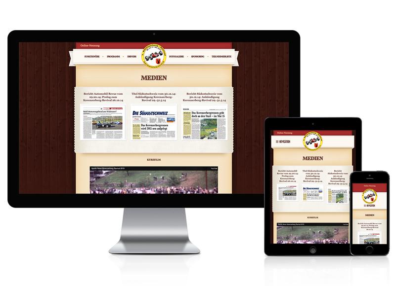 Webseite für Rennsport Events