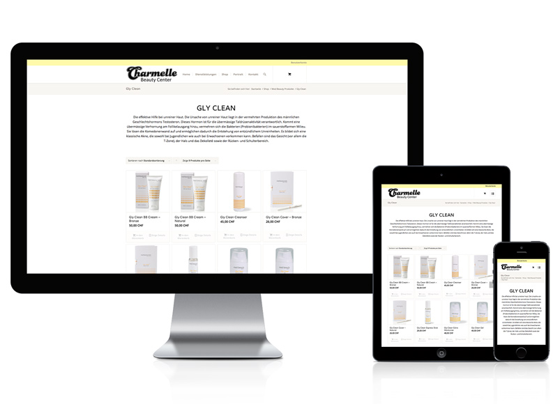 Webdesign mit Online-Shop für Beauty Center
