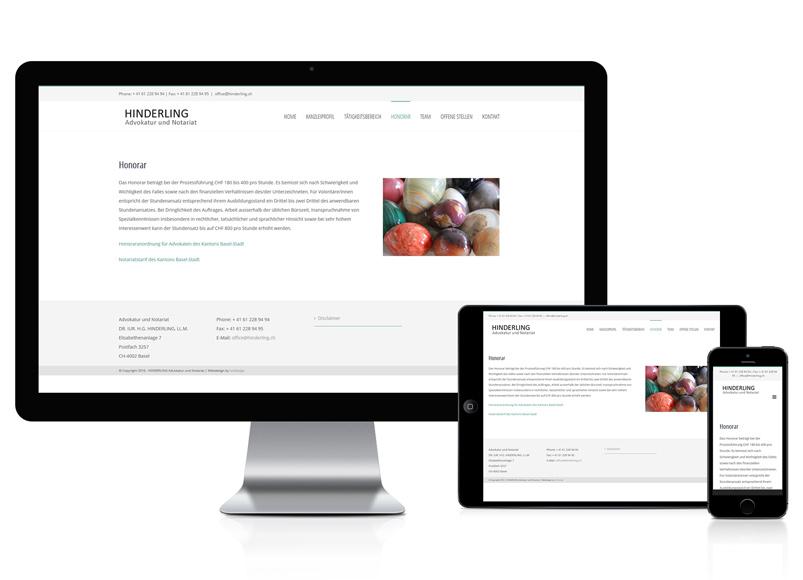 Webseite für Advokatur und Notariat