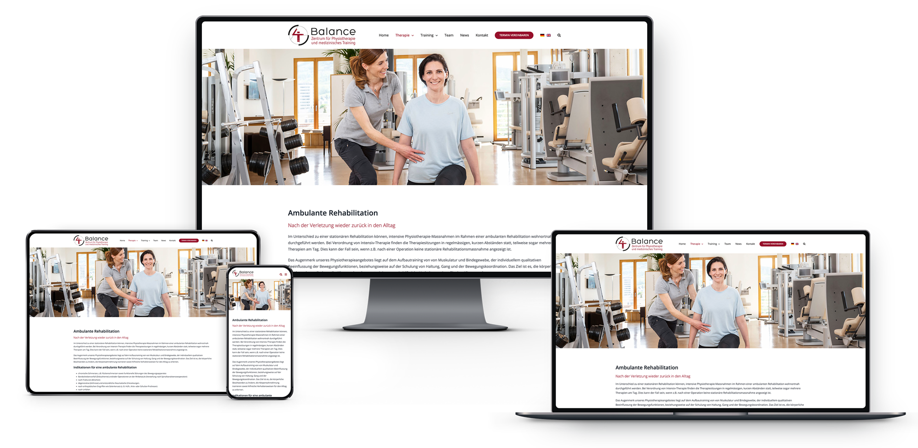 Webseite Physiotherapeutische Praxis