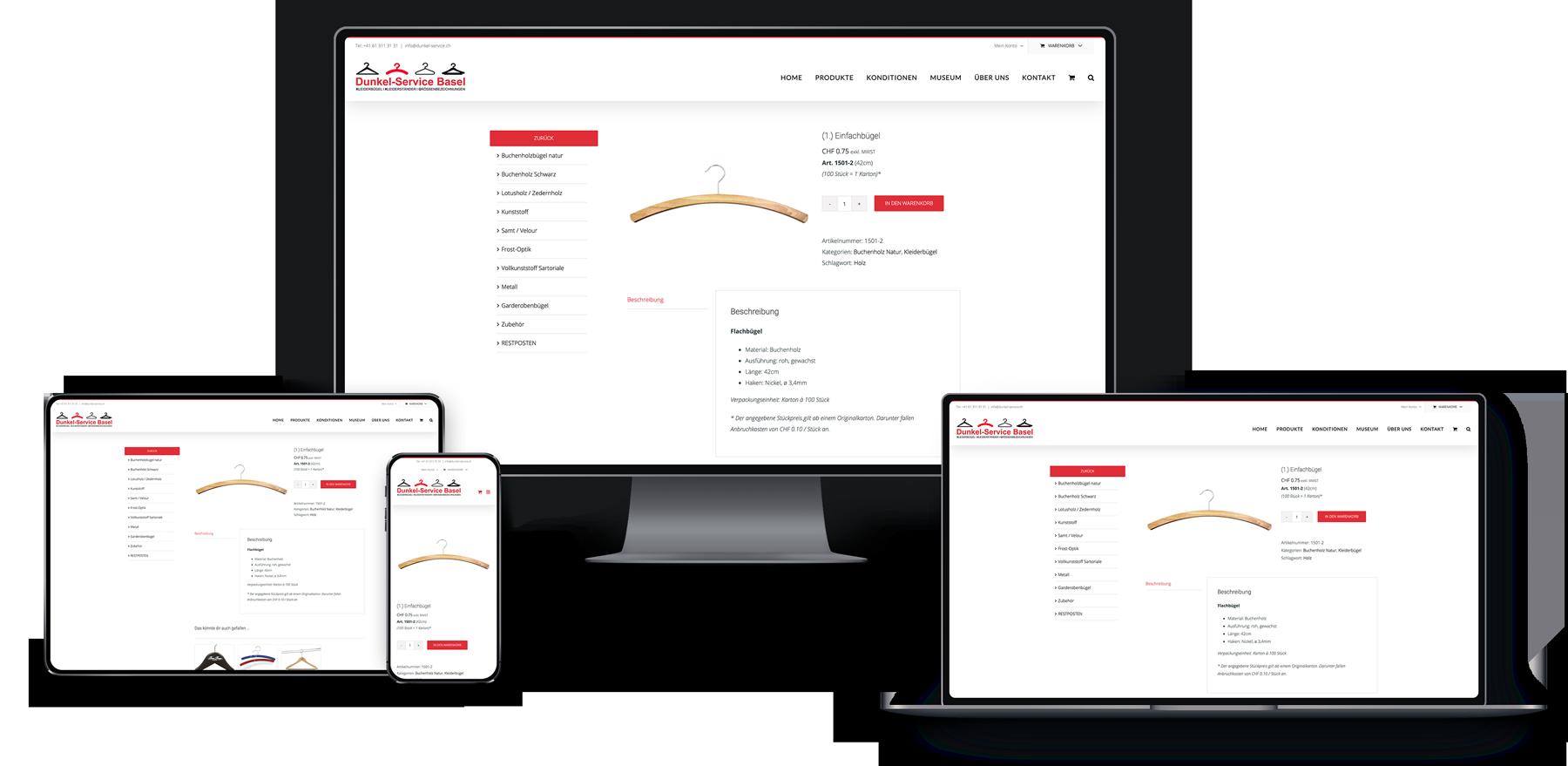 Webseite & Shop für Dunkel-Service